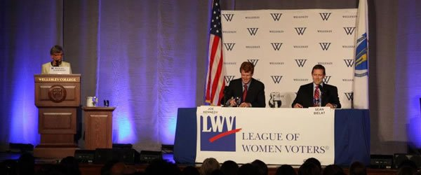 Kennedy and Bielat at LWV 4th district Candidate Forum, Wellesley College, October 2012 [slide]
