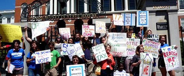 LWVMA rally for passage of Updated Bottle Bill at the MA State House, summer 2012 [slide]