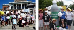 LWV members advocate for the updated bottle bill at the State House and in the Sudbury July 4 parade, summer 2012