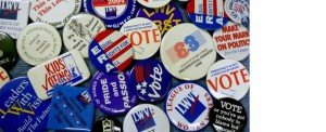 Photo of LWV buttons through the years.