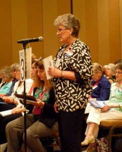 Becky Shannon introduces LWVMA Resolution