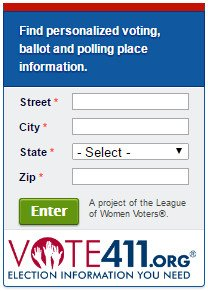 Vote 411: Ballot and Polling place information